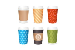 Coffee Cups Template Set. Vector