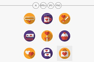 Dating and love flat vector icons
