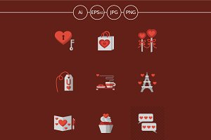 Love flat vector icons on red