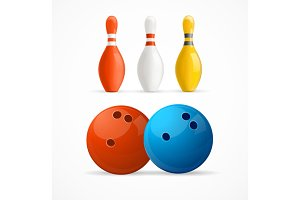 Group of Bowling Pins and Balls.