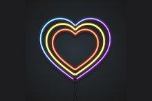 Neon Heart. Vector