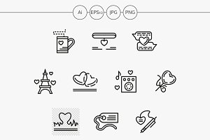 Simple line love relationship icons