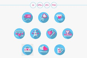 Blue round romantic event flat icons