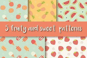 5 Fruit and Ice Cream Patterns