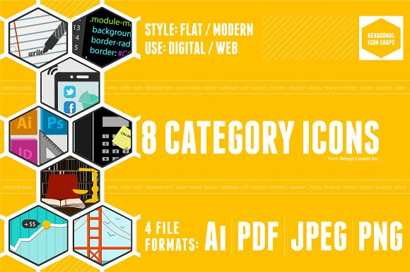 8 Flat Web Category Icons - Vector