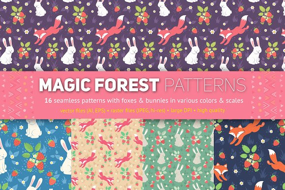 Magic Forest Seamless Patterns