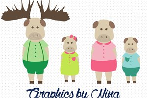 Moose Clipart/Moose Family