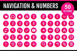 50 Icons Nav & Numbers