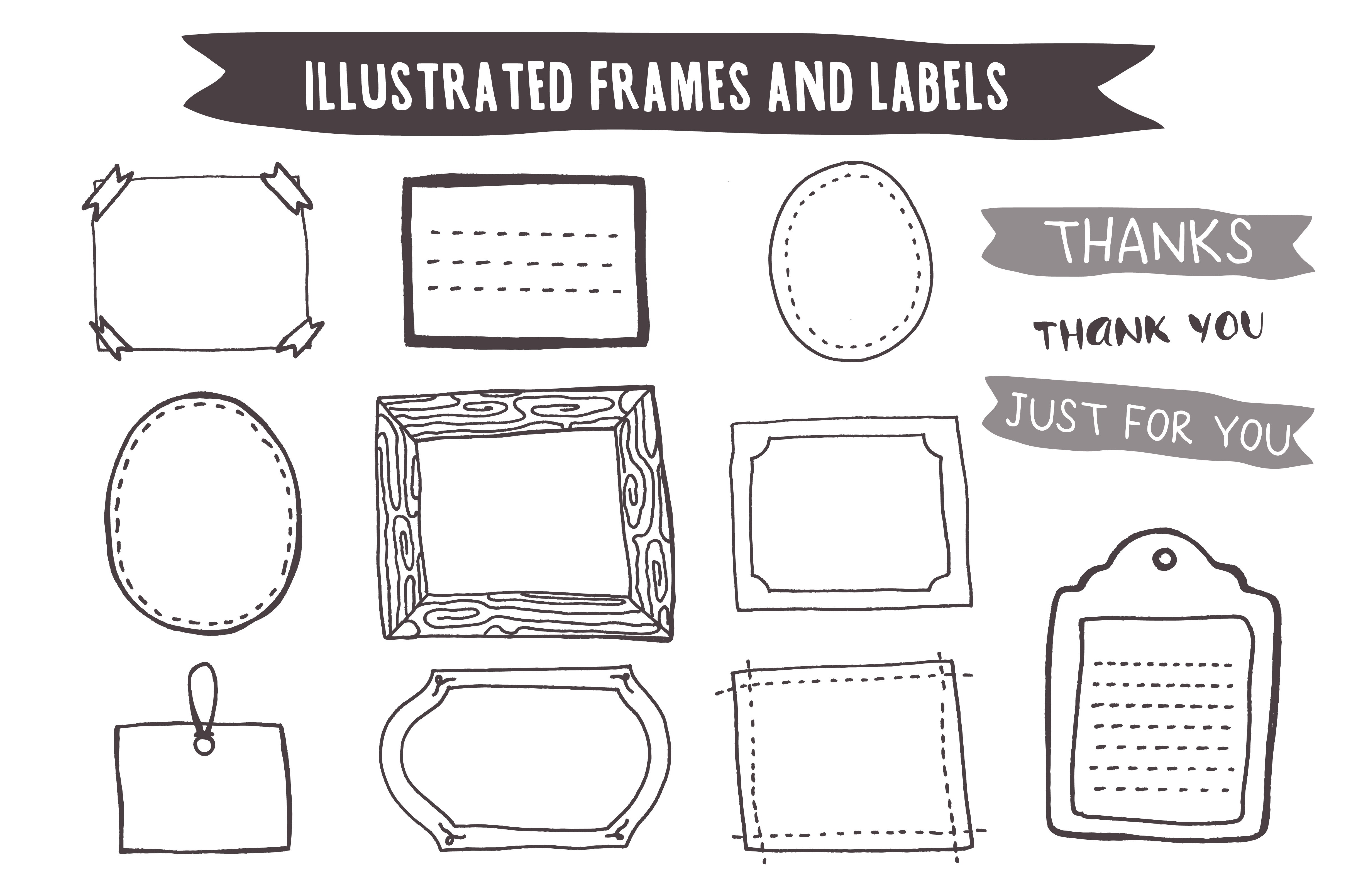 hand drawn frames and labels illustrations creative market