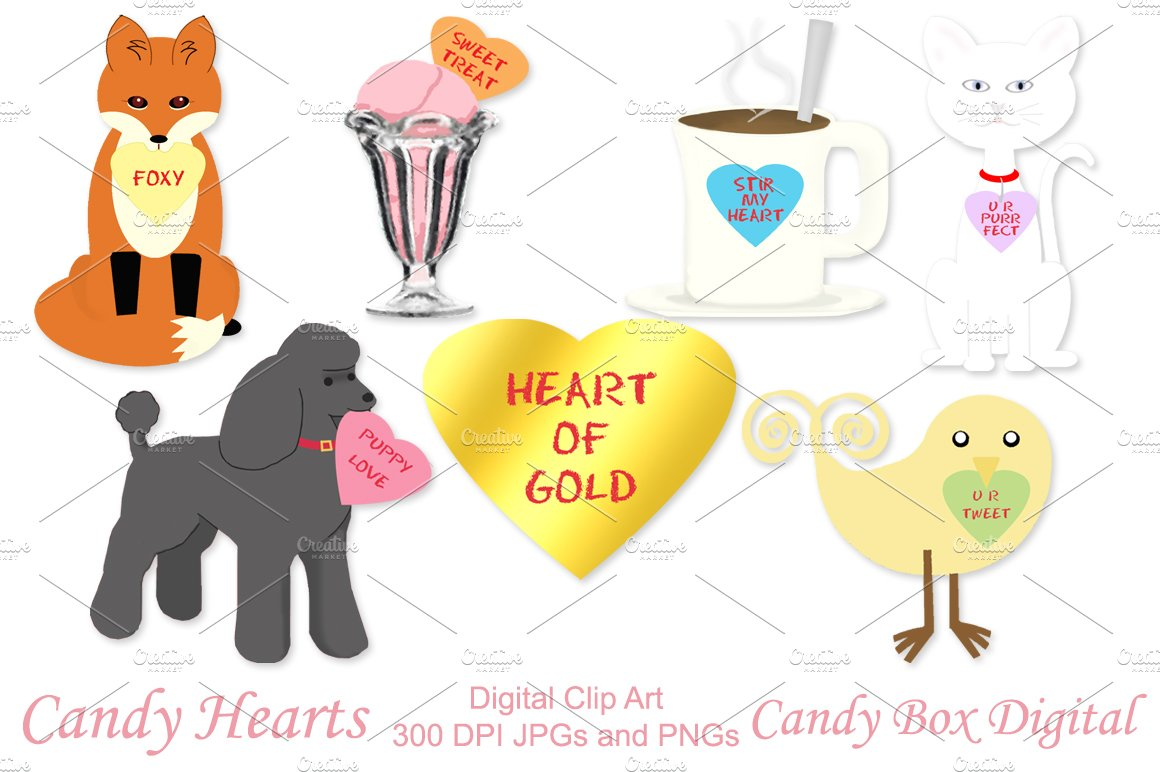 Candy Heart Sayings Clip Art ~ Illustrations on Creative Market