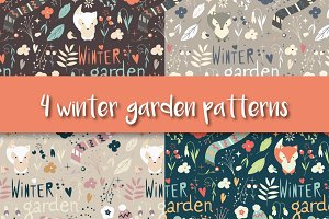 4 Winter Garden Seamless Patterns