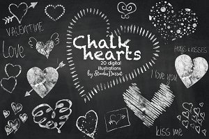 Chalk Hearts - digital illustrations