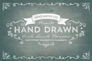Hand Drawn Curls & Banners Vol. 1
