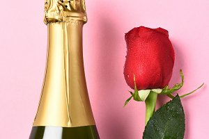Champagne Bottle Single Red Rose