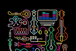 Music Shop Vector Illustration