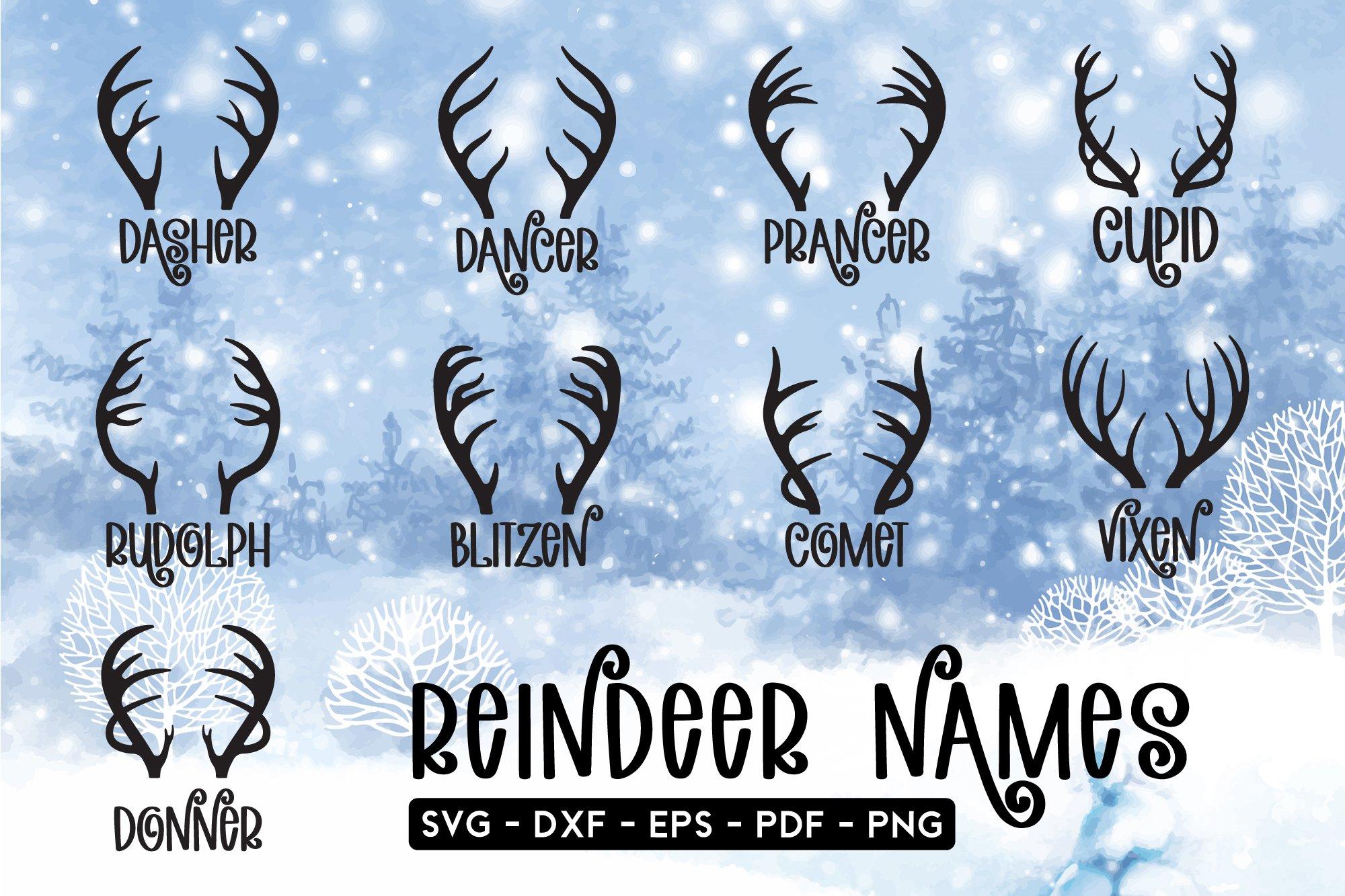 Christmas Reindeer Names Svg Bundle Pre Designed Illustrator Graphics Creative Market
