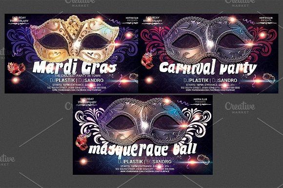 carnival mardi gras party flyer temp flyer templates creative market