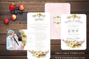 Bohemian Protea floral Invitation