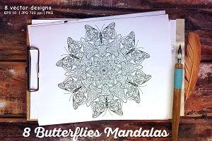 8 Butterflies Mandala
