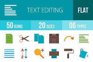 50 Text Edit Flat Multicolor Icons