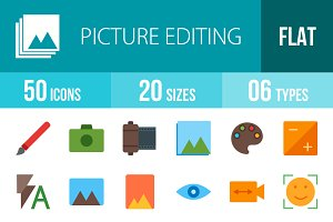 50 Picture Edit Flat MulticolorIcons