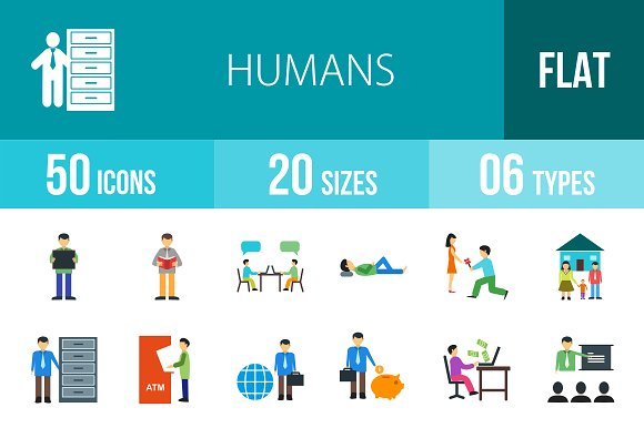 50 Humans Flat Multicolor Icons