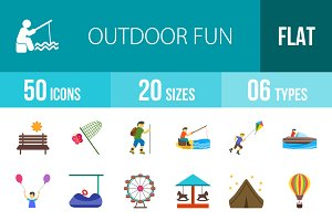 50 Outdoor Fun Flat Multicolor Icons