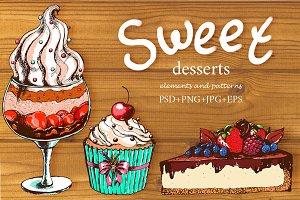 Sweet desserts set