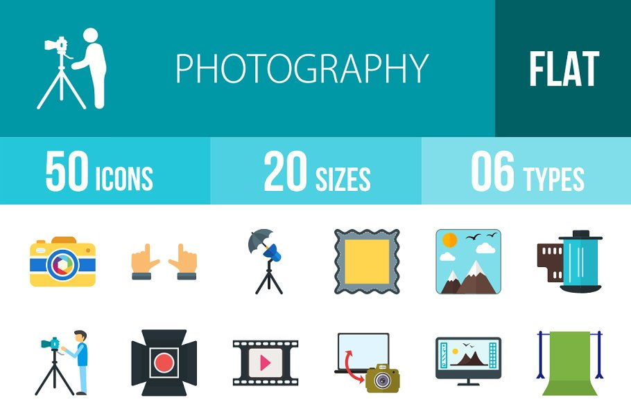 50 Photography Flat Multicolor Icons