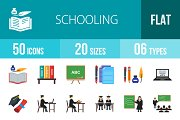 50 Schooling Flat Multicolor Icons
