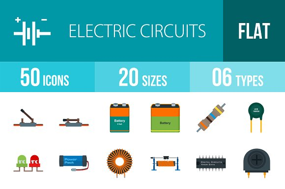 50 Electric Flat Multicolor Icons