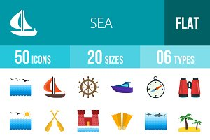 50 Sea Flat Multicolor Icons