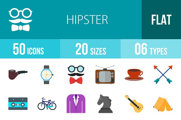 50 Hipster Flat Multicolor Icons in Icons
