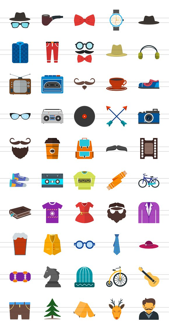 50 Hipster Flat Multicolor Icons in Graphics - product preview 1