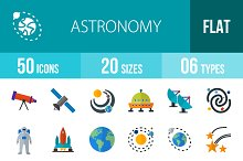 50 Astronomy Flat Multicolor Icons