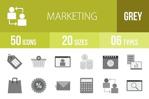 50 Marketing Greyscale Icons