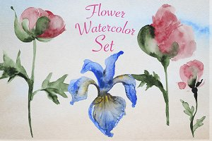 Flower watercolor set