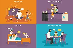 Family flat illustrations set #21
