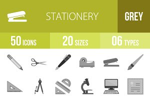 50 Stationery Greyscale Icons