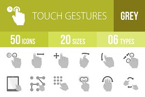50 Touch Gestures Greyscale Icons