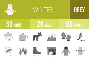 50 Winter Greyscale Icons