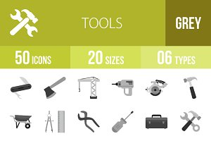 50 Tools Greyscale Icons