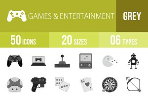 50 Games Greyscale Icons