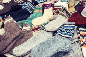 Colorful woollen socks
