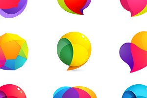 9 colorful speech bubble icons