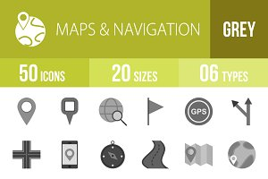50 Maps & Navigation Greyscale Icons