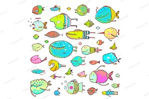 Cartoon Bizarre Fish Kids Collection