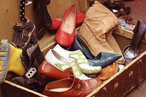 Old shoes at flea market