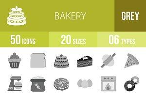 50 Bakery Greyscale Icons