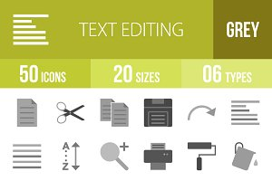 50 Text Editing Greyscale Icons